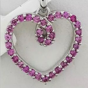 Jewelry - Sterling Silver Pink Sapphire Heart Necklace